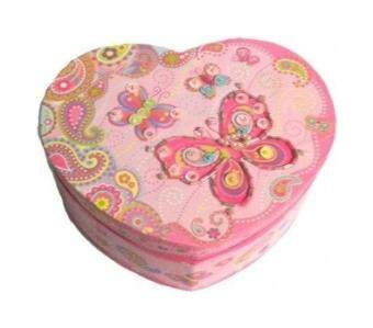 Malaysia Prices Pecoware / Heart-shaped Musical Jewellery Box, Fancy Butterfly