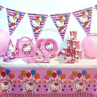 Malaysia Prices Hello Kitty Theme Party Essentials for 10 Pax (Cups, Plates, Masks, Napkin Tissue, Hats, Gift Boxes, Gift Bags, Table Cover, Flags, Balloons)