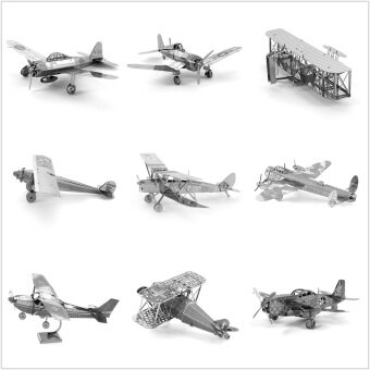 Malaysia Prices Planes Models Set of 9 Fun 3d Metal Diy Steel Scale Miniature Model Kids Puzzle Toys Jigsaw Adults Hobby Kits