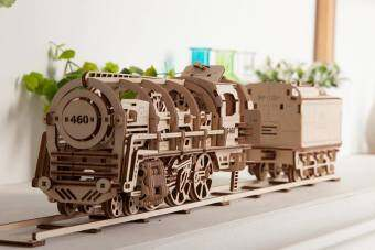Malaysia Prices UGEARS Steam Locomotive with Tender, 3D DIY wooden mechanical puzzle, educational toys, kickstarter products