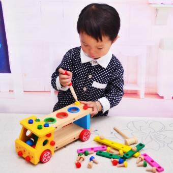 Malaysia Prices TOY Wooden Puzzle Education Knock Ball Truck with Screw Nut Hammer Tool Kit