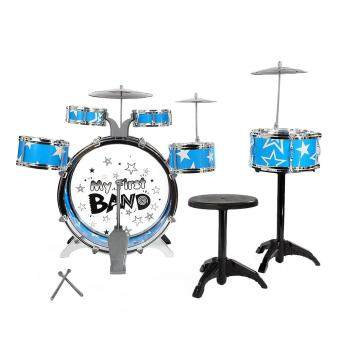 Malaysia Prices Toys Games Musical Toys Kids Drums Kit Musical Instrument Toy With Cymbals Stool Christmas Birthday Gift(Blue)