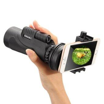 Malaysia Prices 12x50mm Life Waterproof Optical Monocular Telescope With Universal Holder Clip, Clip Suitable For Width 5.8cm-9.2cm Mobile Phones(Black)