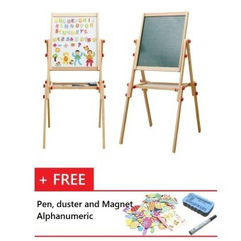 Malaysia Prices Adjustable Height 106cm/ 96cm/ 85cm Magnetic 2 in 1 White and Black Board Easel Set (for age 2 - 12)
