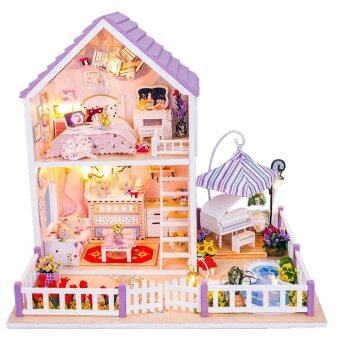 Malaysia Prices DIY Wooden Dolls house Miniature Kit Romantic Purple Home Kids Toy Decoration