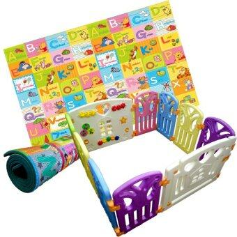 Malaysia Prices Coby Fence Baby Play Yard 8+2 (10panels) 4RB Butterfly + PE One Side Living Baby Play Mat Pooh (Package) Multicolor