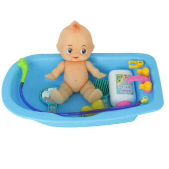 plastic baby doll in bath tub with shower accessories set. Black Bedroom Furniture Sets. Home Design Ideas