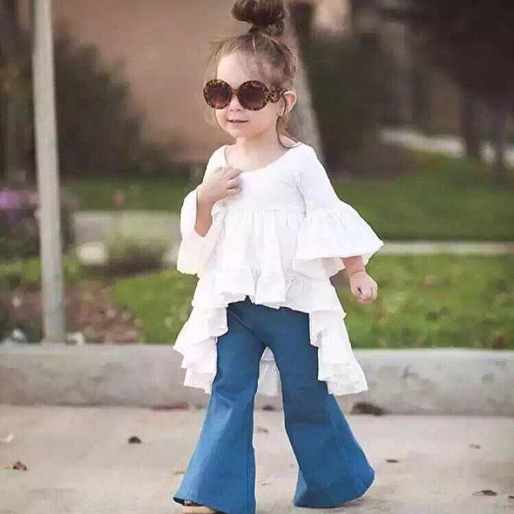 Retro baby girls soft denim bell Children wide leg jeans | Lazada ...
