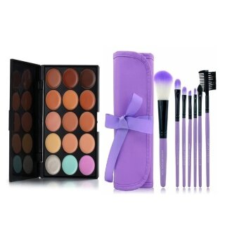 15 Color Concealer Camouflage Makeup Palette & 7pcs MakeupBrush Kit Cosmetic