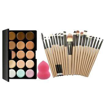 15 Colors Makeup Concealer Palette + Sponge Puff + 20PcsBrushes(Brown Black)