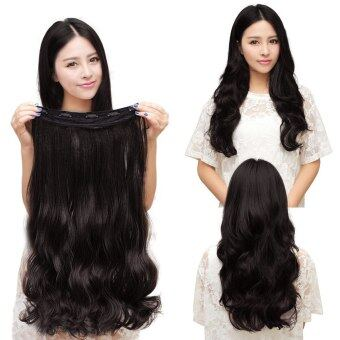 One Piece Clip 5 Clips in Synthetic Human Hair Extensions Long Wavy Curly Hair Black