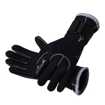 3MM neoprene swimming and diving gloves anti-slip gloves for divingswimming snorkel (Black)-L