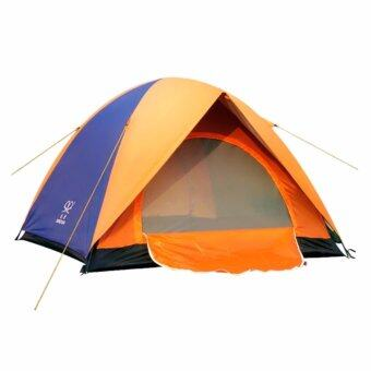 Double Layer Camping Tent 3-4 People Outdoor Tent Hiking Double Door Tent (Blue)