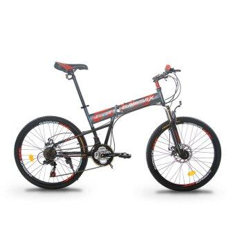 GAMMAX GM240111-BC 24 Inch Foldable MTB with Shimano 21 Speed(Matte Grey with Red)