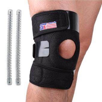SX625 Sports Adjustable Silicon 2-spring Knee Pads Knee Support Guard Protector - Black - Intl