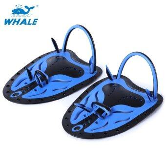 Whale Paired Unisex Swimming Adjustable Paddles Fins Webbed Training Pool Diving Neoprene Hand Gloves(Blue S)
