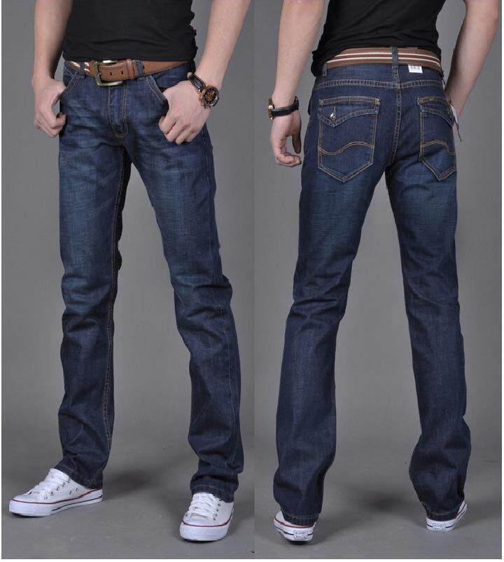 2016 Autumn New Mens Slim Middle Waist Jeans Denim Pants Dark Blue ...