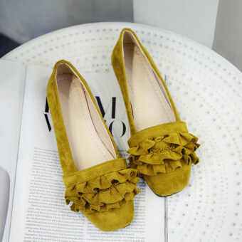 2017 autumn New style suede flat shoes female shallow mouth retro student Wild lotus leaf edge flat with square head shoes (Yellow)