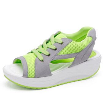 2017 summer Korean-style fish head sandals female breathable shoes slope with gel toe shoes sports dance shoes casual shook his shoes (Fluorescent green)