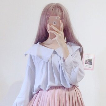 Autumn Women's 2017 New style Korean-style small fresh loose doll collar long-sleeved chiffon shirt student casual shirt (Light blue)