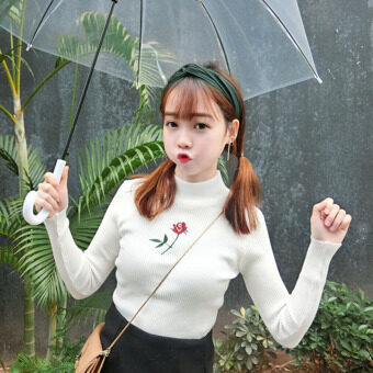 Autumn Women's Korean-style small fresh rose embroidery small high collar Slim fit long-sleeved hedging sweater Top bottoming shirt (White)