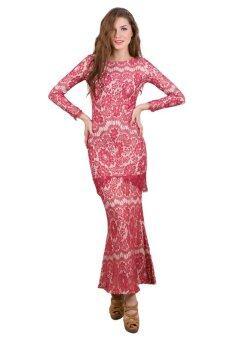 Baju Kurung Lace Overlay - Vercato Dulcie - Red