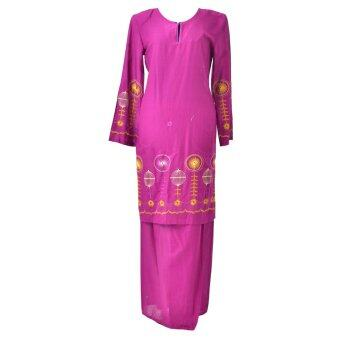 Baju Kurung Moden - Cotton Embroidery - 1186 - F6 (Dark Purple)