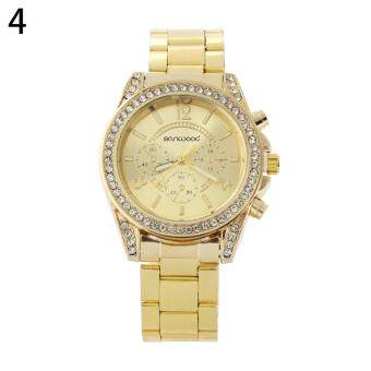 Bluelans(R) Geneva Women's Gold Stainless Steel Band Watch