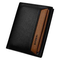 male designer wallets 9ywn  Bogesi 721-2 Premium Leather Men Short Vertical Wallet- Black