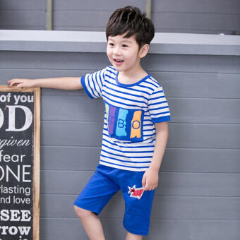 Boys children's short-sleeved suit summer two-piece T-shirt (Skyblue color) (Sky blue color)
