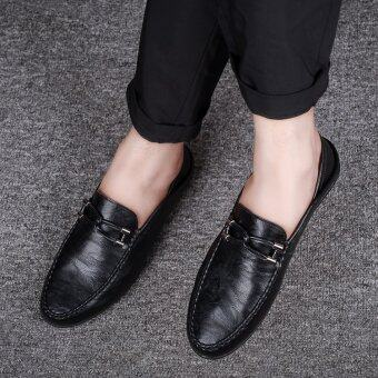 BYL-S moccasins leather casual shoes formal sneakers kasut (Black)