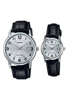Casio Standard Unisex Black Leather Strap Couple Watch MTP V002L 7BV
