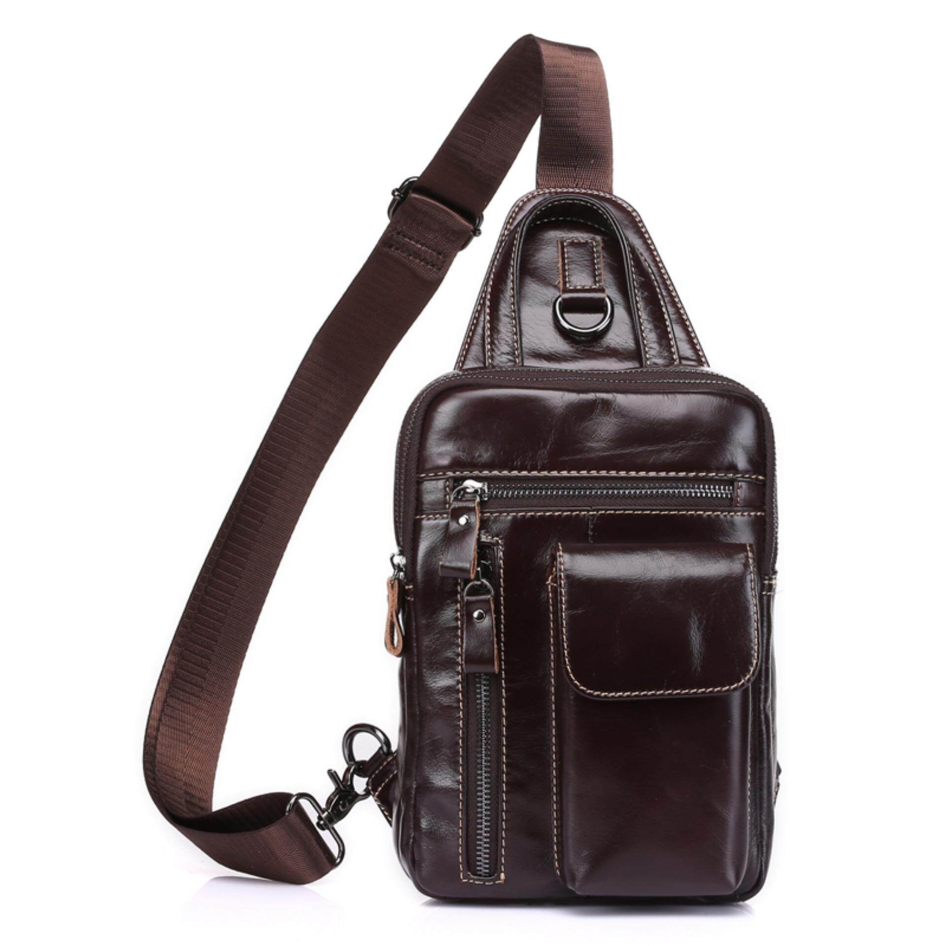 Casual Daypack Top Grain Cow Leather Sling Shoulder bag Chest pack ...