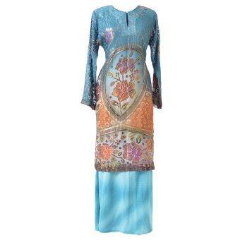Cotton & Silk - Baju Kurung - Brasso Matching 9601 A1 Teal Green