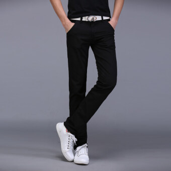 Cotton men Slim fit skinny pants casual pants (Black 919 pants)