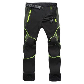 Every day special outdoor quick-drying pants for men and womentrousers Slim fit summer stretch jacket pants thin loosemountaineering pants (Female models black green)