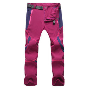 Every day special outdoor quick-drying pants for men and womentrousers Slim fit summer stretch jacket pants thin loosemountaineering pants (Female models Burgundy color)