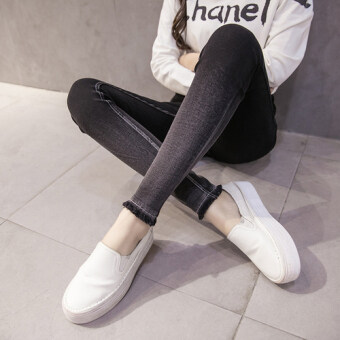 Fat mm spring high waist stretch slim fit denim leggings outer wear Plus-sized long pants Slimming effect feet pants 200 kg (Black raw-cut models 7113)