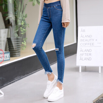 Female thin section outer wear Slimming effect pencil pants summer jeans (Two holes in dark blue) (Two holes in dark blue)