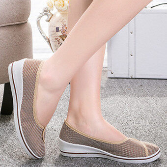 Female with slope Comfortable Soft Work shoes Beauty Dance Canvasshoes Coffee