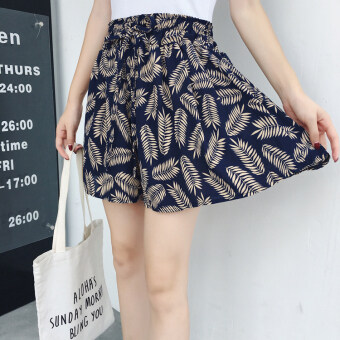 Floral Korean-style slimming printed shorts (6 NO. Leaves blue) (6 NO. Leaves blue)