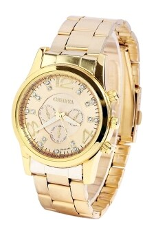 Geneva Chronograph Elegant 178 Watch Gold + Free Watch Box