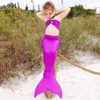 GETEK 3PCS Girl Kids Mermaid Tail Bathing Suit Bikini Set Costume3-8Years (Purple)