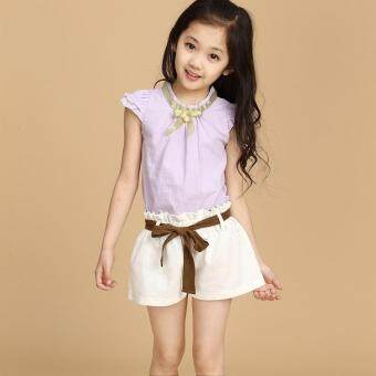 Girls summer suit 2017 New style Korean-style large children girls summer clothes children wear children's clothing Linen two-piece Sets (Gold Collar Purple)
