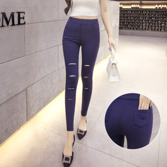 Hole outer wear high waist slim fit Slimming effect black pantyhosepants (Sapphire blue color-two pockets Hole Section)