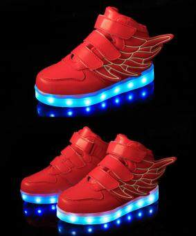 Malaysia Prices Children's LED lights wings shoes boys and girls casual shoes sneakers - Red