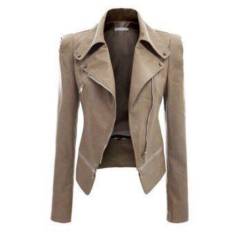 Malaysia Prices Leather Jacket Women Turn-down Collar Coat Parka Short Motorcycle Slim PU Leather Jackets- khaki