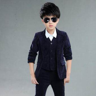 Malaysia Prices 3pcs Set Boys' Formal Suit Prom Funeral Wedding Suit Clothes Kids Boys Coat Pants Vest L17096 (Dark blue)
