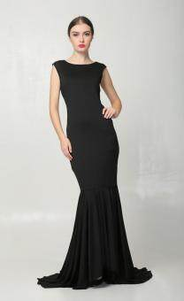 Malaysia Prices Euro Dinner/Party Luxury Long Dress (Black)
