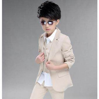 Malaysia Prices 3pcs Set Boys' Formal Suit Prom Funeral Wedding Suit Clothes Kids Boys Coat Pants Vest L17096 (Beige)